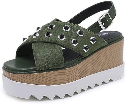 KUKI Sandales à semelles épaisses pour femmes, US7.5 EU38 UK5.5 CN38
