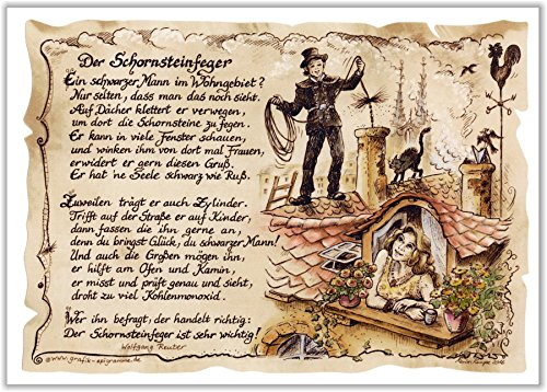 Die Staffelei Geschenk-Bild für den Schornsteinfeger - Zeichnung mit lustigem Gedicht - Bild - Spruch Kaminputzer - Glücksbringer - A4 Bild-Präsent zum Jubiläum