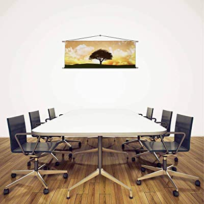 Artzfolio Sunset Tree Landscape Satin Painting Tapestry Scroll Art Hanging 33.6 X 12Inch