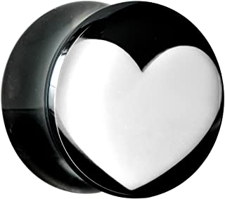 Body Candy Black Acrylic White Heart Saddle Ear Gauge Plug (1 Piece) 9/16""