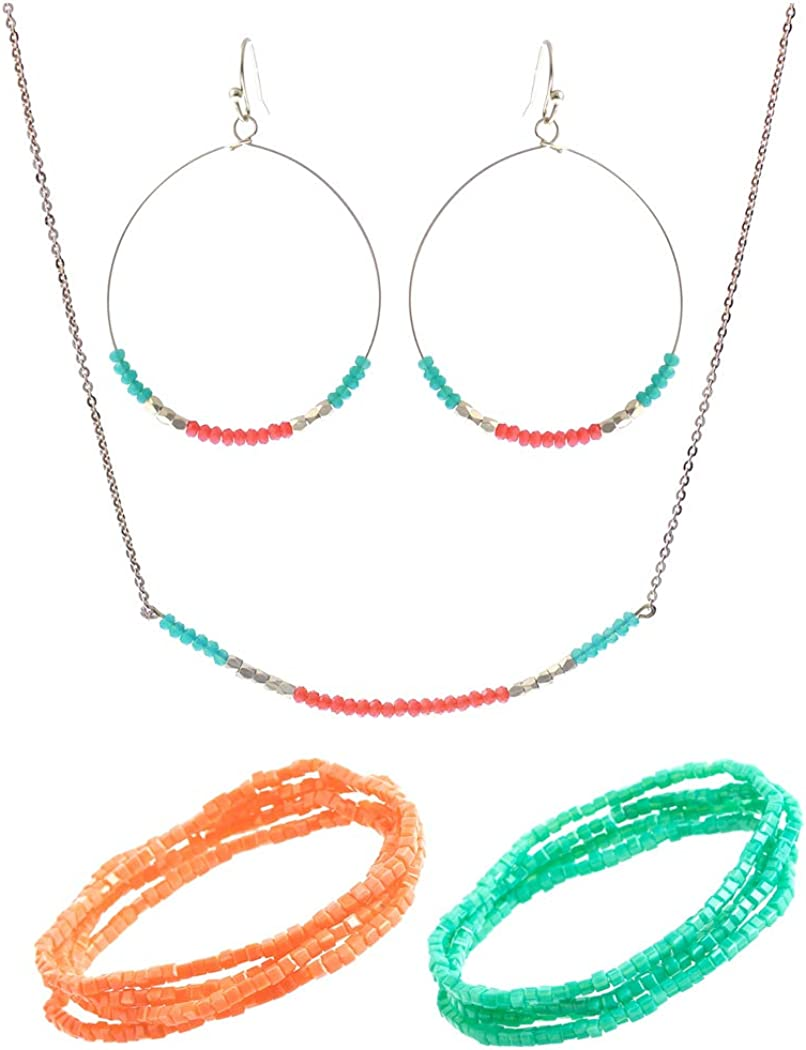 Rosemarie & Jubalee Women's Island Vibes Bright And Colorful Dainty Glass Bead Adorned Necklace, Gold Tone Wire Hoop Earrings And 2 Separate Sets of 4 Stacking 2mm Beaded Stretch Bracelets Jewelry Set