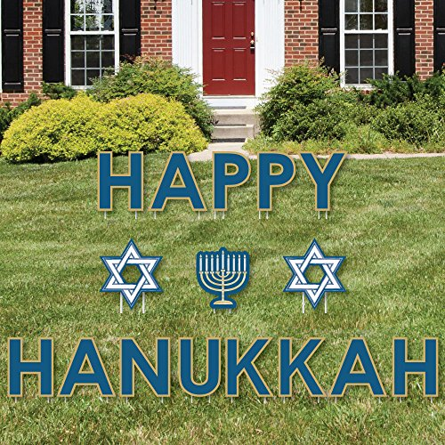 Big Dot of Happiness Happy Hanukkah - Yard Sign Outdoor Lawn Decorations - Chanukah Yard Signs