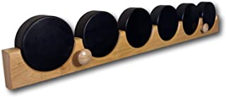 Hockey Puck Display Wall Rack Holder for 6 Pucks | Natural Beech Finished Wood with Smooth Grooves