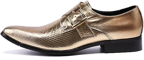 LHLWDGG.K Hauszapatos De Deporte De Cuero Para Hombre zapatos Oxford Oficiales zapatos De Vestir Dorados zapatos De Fiesta De Boda Para hombres, Dorado, 8.5