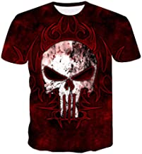 Htekgme Unisex T-shirt met rode schedel, 3D-print,...