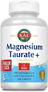 KAL Magnesium Taurate Plus 400mg w/Coenzyme B6 | Highly Bioavailable, Chelated, Vegan | for Normal Nerve, M...