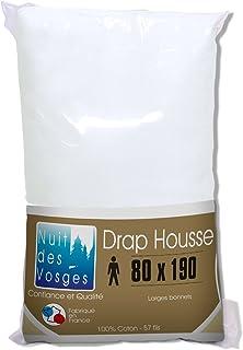 Nuit des Vosges 2094459 Cotoval Drap Housse Uni Coton Blanc 80 x 190 cm