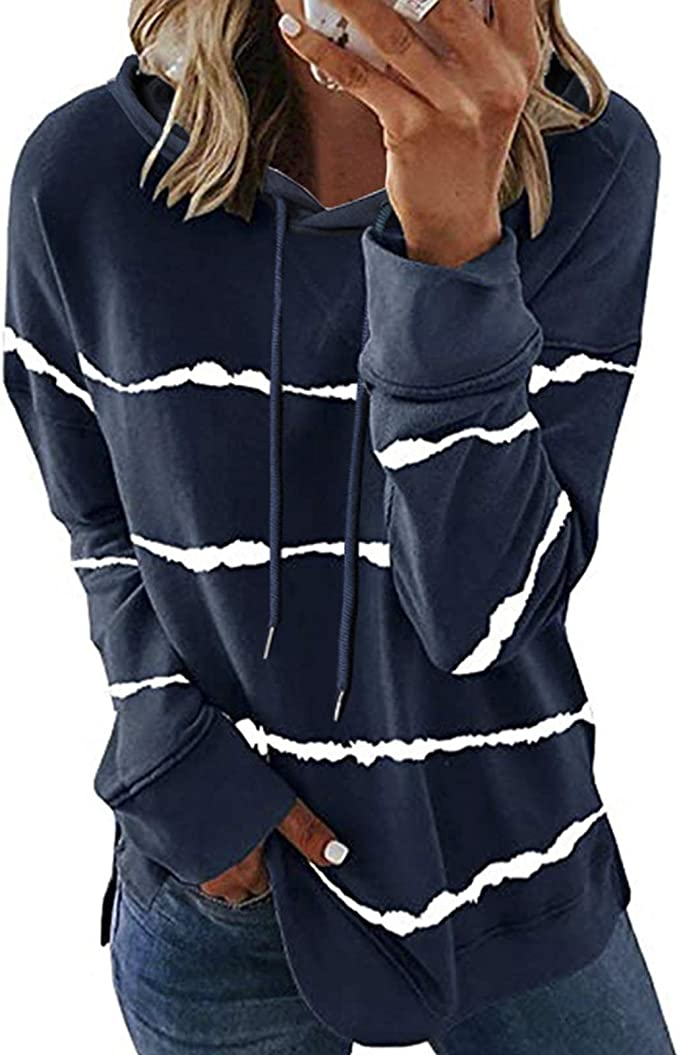 Effeltch Oversized Womens Casual Striped Print Long Sleeve and Short Sleeve Hoodies Tunic Tops Plus Size(S-5XL)