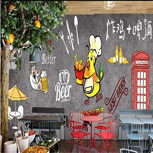 NIdezuiai muurschildering aanpassen 4D behang, Animal Serie Cartoon hand getekend gebakken kip bier grote zijden muurschilderingen Hd afdrukken muurdecoratie Art Poster foto voor kinderkamer kleuterschool spel Decor 80in×120in 200cm(H)×300cm(W) Zoals getoond