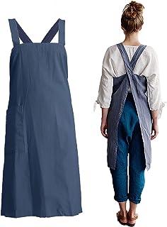 losofar Women Girls Vintage Pinafore Square Apron Baking Cooking Gardening Works Cross Back Cotton/Linen Blend Aprons Pina...