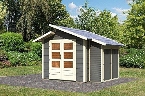 Unbekannt Karibu Gartenhaus GRÖNELO + Anbauschrank terragrau Gerätehaus 244x244cm 28mm