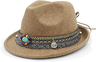 レディース フェルトハット アウトバック フェドラ帽子 タッセル ボヘミアリボン エレガント レディジャズ 教会 ゴッドファーザーソンブレロキャップ (Color : カーキ, Size : 57-58cm)