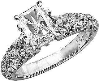 1.5 Ctw 14K White Gold Vintage Channel Filigree Milgrain Radiant Cut Diamond Engagement Ring (1 Ct H Color SI2 Clarity Center Stone)