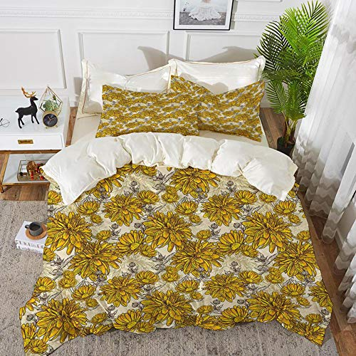 Luoquan 3 Piece Bedding Set,Floral,Lily Carnation Bouquet Beauty Botany Field Flourishing Mother Nature Theme,Earth Yellow Beige,1 Duvet Cover Set200 x 200,2 pillowcase 50x80cm