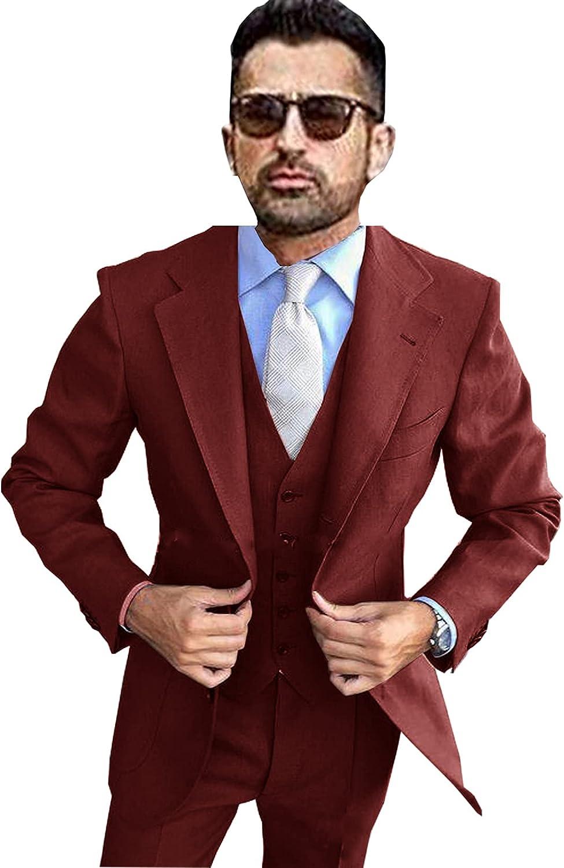 Men's Three-Piece Business Groom Tuxedo One Button Blazer Slim Jacket + Pants + Vest