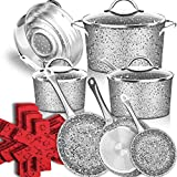 Stone Ultra Non-Stick Pots and Pans Set, 16 Pieces Marble Coating Induction Cookware Set, Stainless Steel Handle, Durable, Scratch Resistance, Dishwasher Safe, Oven Safe, Merry Xmas!