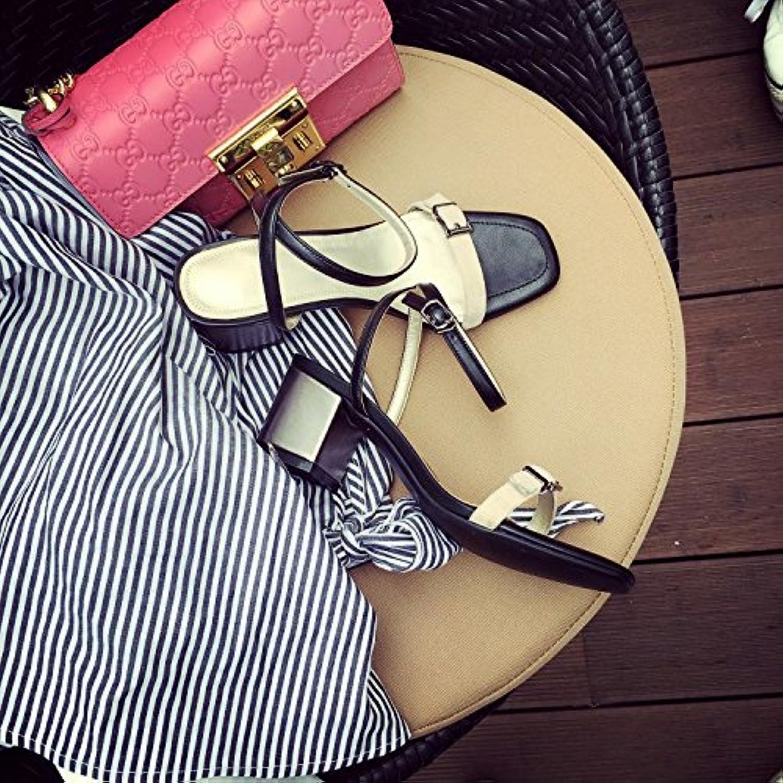 KAI-High heel sandals heel heel heel heel Rome,black,Thirty-eight