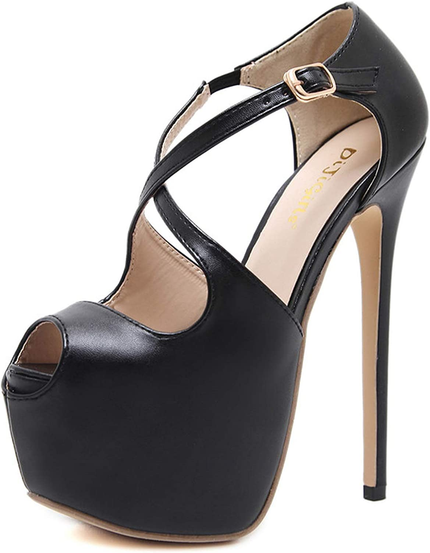 Sexy High Heels Women Pumps Cross-Tied Buckle Platform shoes Lady Nightclub Open Toe Fish Mouth 16 cm Heels Stilettos