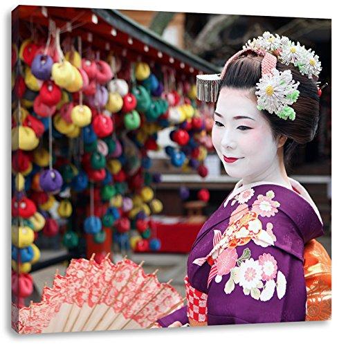 Anmutige Geisha mit Fächer, Format: 60x60 auf Leinwand, XXL riesige Bilder fertig gerahmt mit Keilrahmen, Kunstdruck auf Wandbild mit Rahmen, günstiger als Gemälde oder Ölbild, kein Poster oder Plakat
