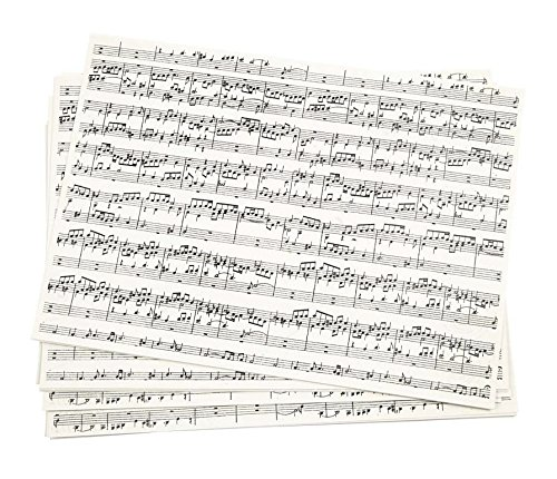 Kraftpapier DIN A4, Musiknoten, 20 Stück, 100 g/qm, Kreativ-Papier Karten gestalten