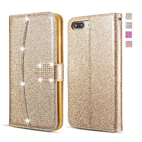 UEEBAI Brieftasche Hülle für Sony Xperia XZ/XZs, Premium Glitzer PU Leder Handyhülle mit Diamant Schnalle [Kartenslots] [Magnetverschluss] Ständer Funktion Strass Weich TPU Schutzhülle - Gold