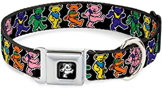 Buckle-Down Seatbelt Buckle Dog Collar - Dancing Bears Black/Multi Color - 1.5
