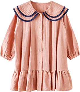 N/X Girls Lapel Dress with Overturned Collars Solid Color Pleated Skirt Midi Dressees for Children
