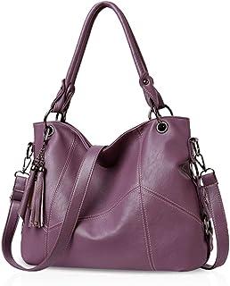 NICOLE & DORIS Fashion Damen Schultertasche Einfache Umhängetasche für Damen Soft PU Leder Lila