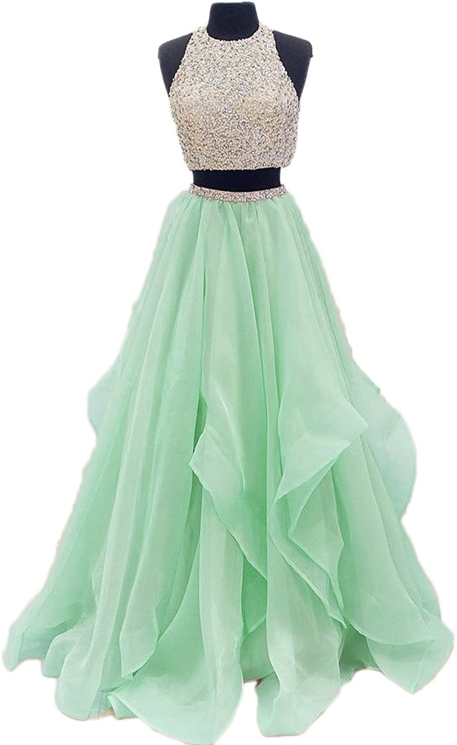DKBridal Beaded Top Two Pieces Prom Dresses Evening Gown