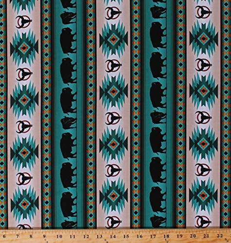 Cotton Southwestern Native American Aztec Buffalo Bison Wildlife Tucson 485 Turquoise Stripes Striped Cotton Fabric Print by The Yard (D366.36)