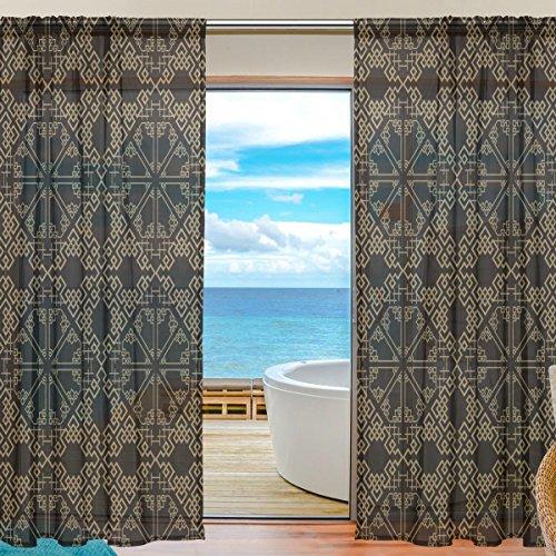 yibaihe Fenster Vorhänge, Gardinen Platten Fenster Behandlung Set Voile Drapes Tüll Vorhänge Oriental Retro Muster 140 W x 198cm L 2Einsätze für Wohnzimmer Schlafzimmer Girl 's Room