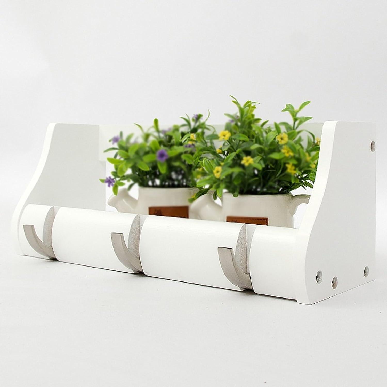 LXLA- Shelf Hangers Coat Rack Hook Up Storage Wood Bamboo Wall-mounted White (Available 2,3,4,5,6 Hooks, 25.2 38 51 63 76.5  13.5  14.5 cm) ( Size   3 hooks )