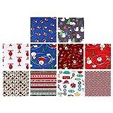 LIXBD 10 paquetes de tela de algodón navideño, cuadrados precortados con dibujos animados, patchwork acolchado, tela de retazos para manualidades, costura, álbumes de recortes (color: estilo 1)