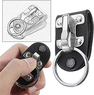 Delleu Ceinture Porte-clé en Cuir Ceinture Boucle Porte-clés Ceinture clé Clips avec Porte-clés Amovible pour Adulte