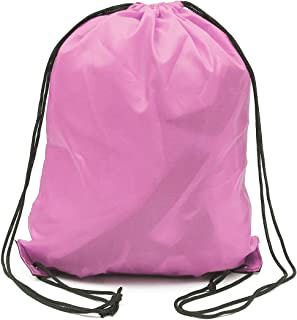 10 Pack 210D Polyester Pink Drawstring Backpack, Gym Sports, Outdoor Backpack, Camping and Hiking Bags (10 Pack, Pink)