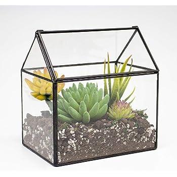 "Ferrisland Glass Terrarium House Shape Close Glass Geometric Container Tabletop Succulent Plant Box Planter - 6.3""x6.1""x4.3"""