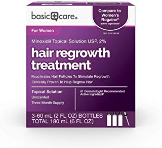 Basic Care Minoxidil Topical Solution USP, 2% Hair Regrowth Treatment for Women, 6 Fl Oz