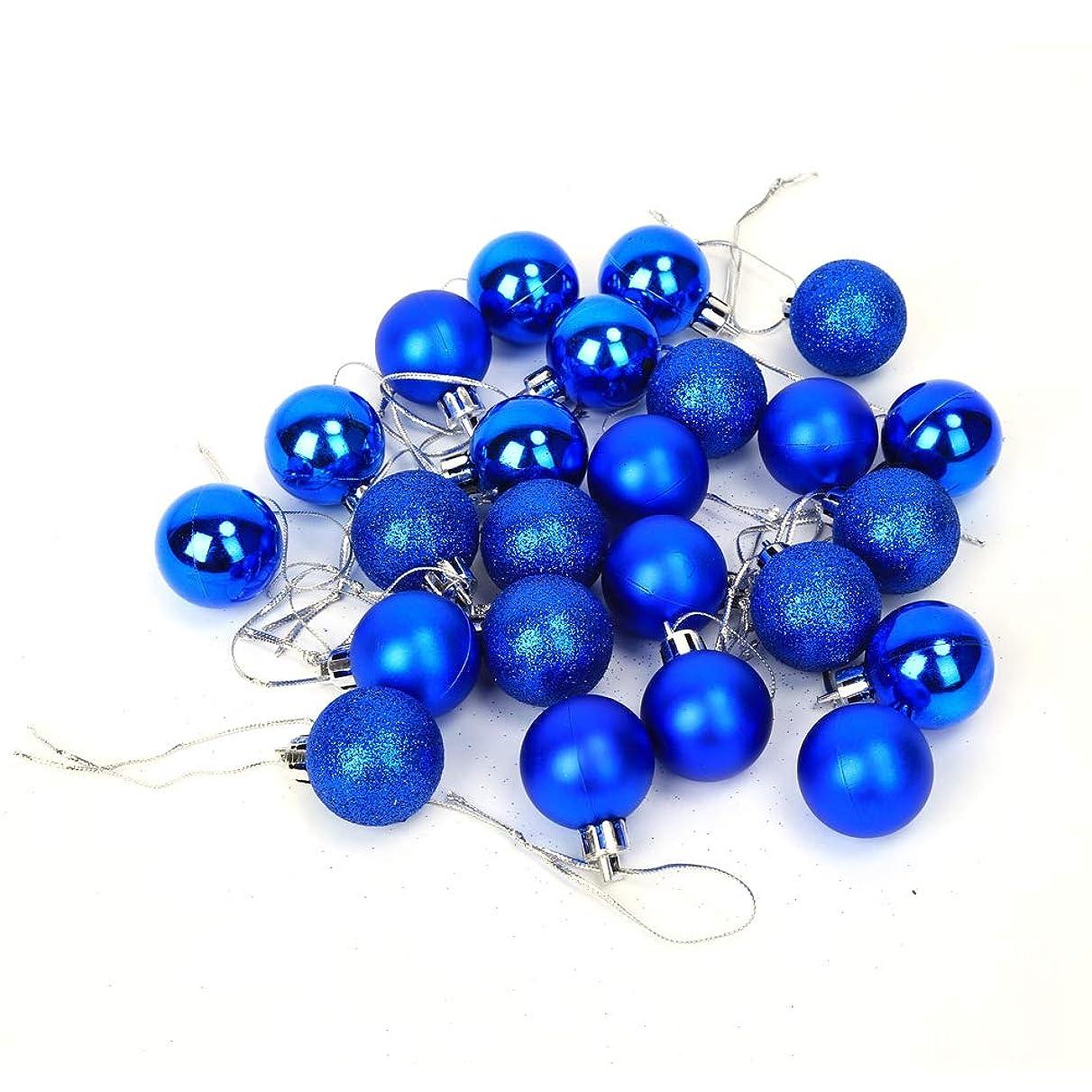 勝つオンス信念Asixx クリスマスオーナメント バブルボール 24個入り クリスマスツリー 飾り キラキラ 装飾 インテリア バブルボール 全6色選べる(ブルー)