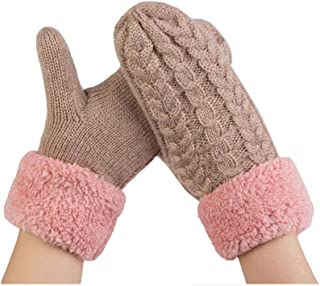 ACVIP Women's Wool Knit Warm Lining Cold Weather Mittens Stringed