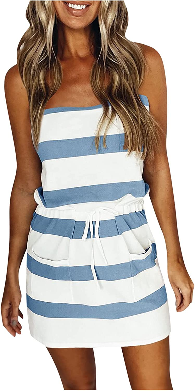 Masbird Sundress Women Summer,Womens V Neck Sleeveless Stripe Tank Dresses Swing Sling Strap Dress with Belt