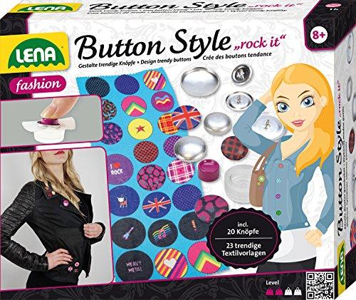 Lena 42596 - Bastelset Button Style rock it, Komplettset mit 20 Metall Knöpfen und Werkzeug in 3 Größen, 23 Textilvorlagen mit tollen Designs und Sprüchen, Mode Styling Set für Kinder ab 8 Jahre
