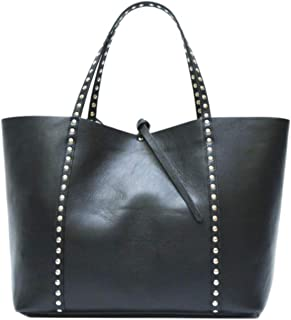 Genuine leather bag, large, black color, shopping style, for shoulders and hands, woman. Made in Italy