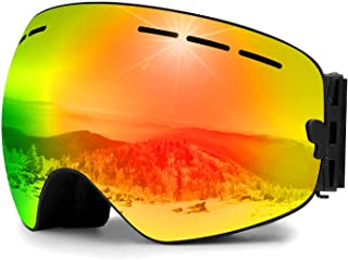 Zerhunt Ski Goggles,Snowboard Goggles Over Glasses, Anti Fog UV Protection 400 Clear Snow Goggles OTG Interchangeable Anti Glare Lens for Adult Men Women Youth Snowmobile,Skiing,Skating Red