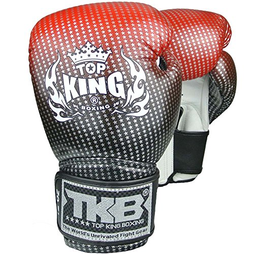 KINGTOP TOP King Boxhandschuhe, Leder, Star, schwarz-rot, Boxing Gloves, Muay Thai, MMA Size 10 Oz