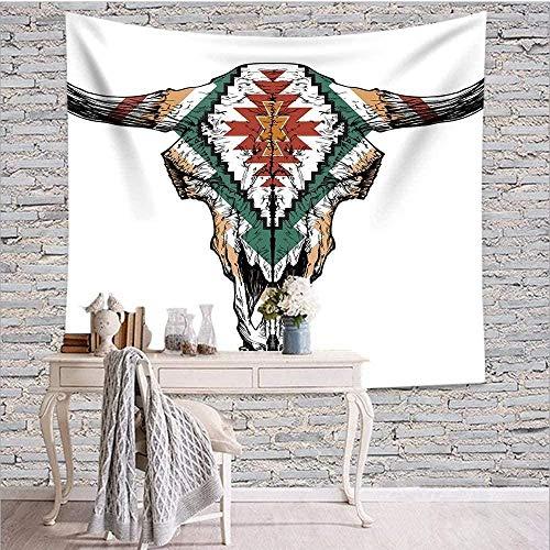 BOIPEEI Tapiz Colgante de pared Cráneo de toro Retro Azteca Diseño tribal Adorno indio mexicano Arte Animal Cuerno Halloween Acción de gracias Arte de la pared Decoración 100cm X 70 Cm
