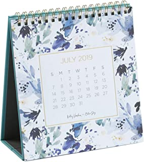 Kelly Ventura for Blue Sky 2019-2020 Academic Year Monthly Desk Calendar with Stand, Gold-Tone Twin-Wire Bond, 6