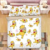 Nichiyo Winnie The Pooh 3D Duvet Cover Set, 3-Piece Bedding Set (Duvet Cover + 2 Pillow Cases), Thick and Soft, 01, King 220x240cm
