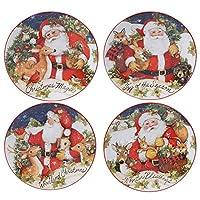 Certified International Magic Of Christmas Santa 9インチ サラダ/デザートプレート 4枚セット マルチカラー
