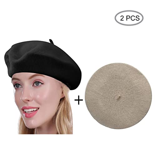 Beret Hat of French Vintage Style, Elegant Soft Stretch Wool Cap, Lightweight Classic Boinas