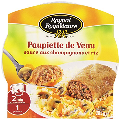 French roulade of veal mushroom sauce and rice - paupiette de veau sauce au champignon et riz - Rayn